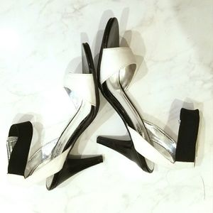 Coach and Four black & white heeled sandals